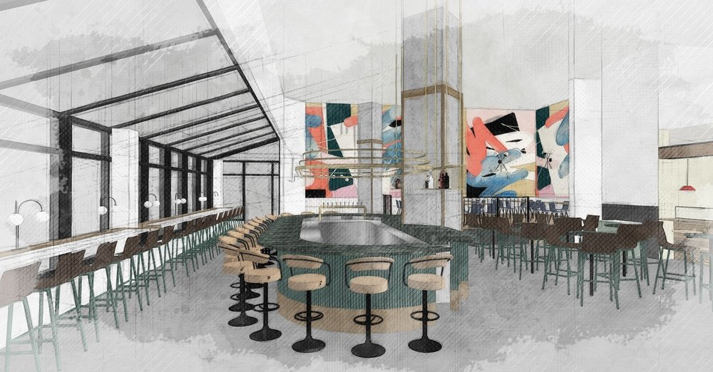Interior Rendering of stage behind the performing stage. Photo:    Queen Street FaRe Website