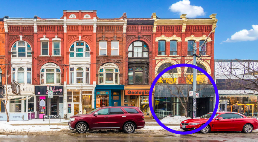 Casper's retail space circled in blue. Image: CBRE Toronto