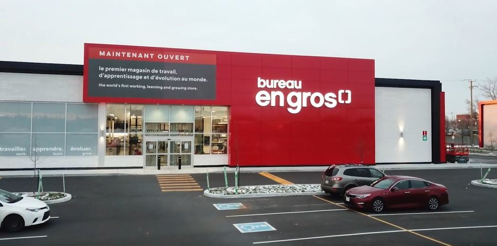 Exterior of new concept at Bureau en Gros store in Kirkland, Quebec. Photo: Newswire/Staples