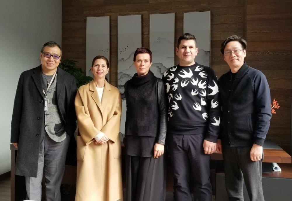 Bruce Li, RozeMerie Cuevas, Helen Siwak, Vladimiros Xanthopoulos, and President of E-Fashion Town Mr. Leon