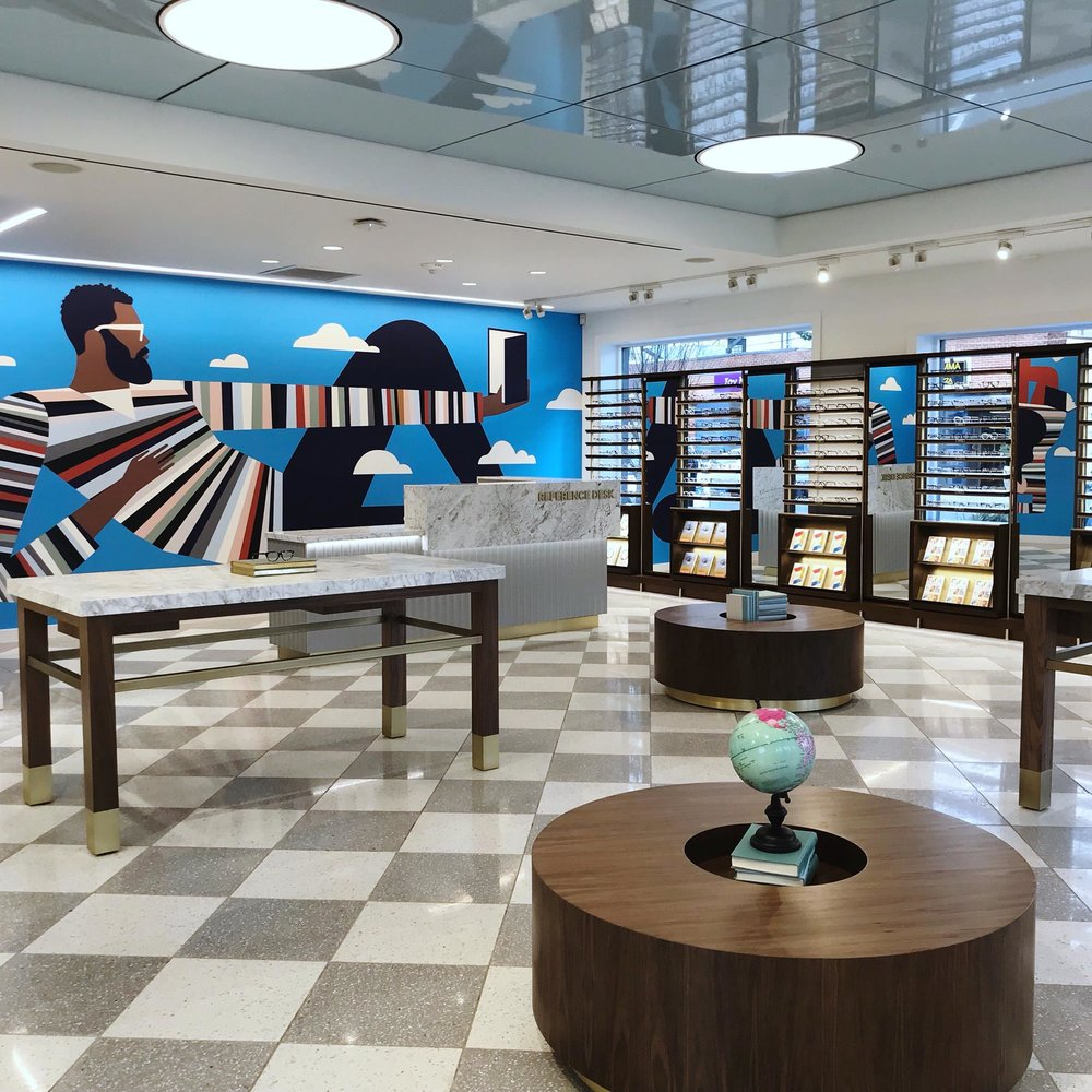 New Jersey location featuring    Keith Negley Illustration   's murals. Photo: Warby Parker
