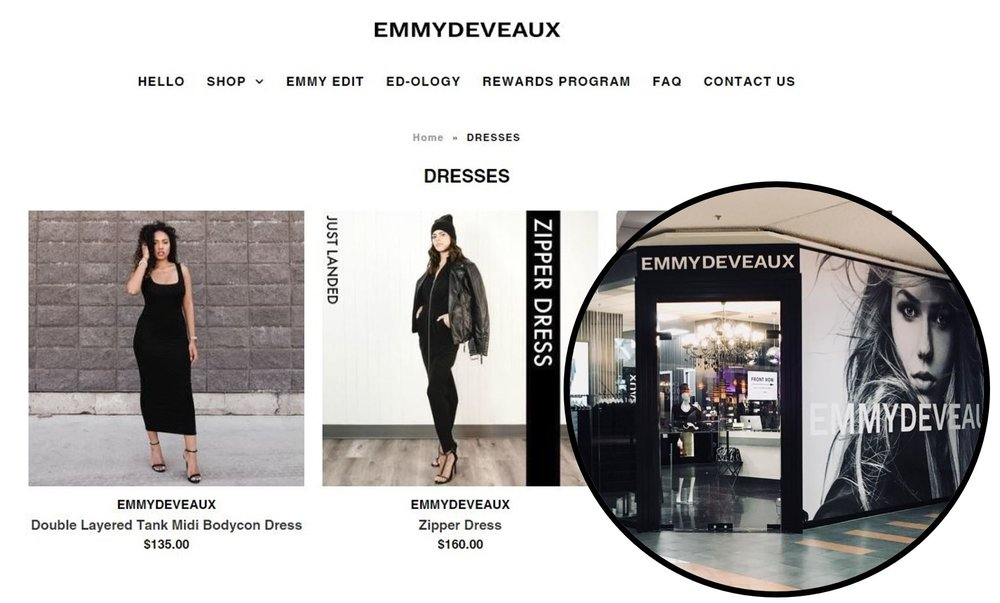 EMMYDEVEAUX Website    (Click) and Edmonton City Centre East location (Brick) in Edmonton, AB. The store has since moved into 'the building' at 6924 104 Street and some are saying it could be the 'next lululemon'.