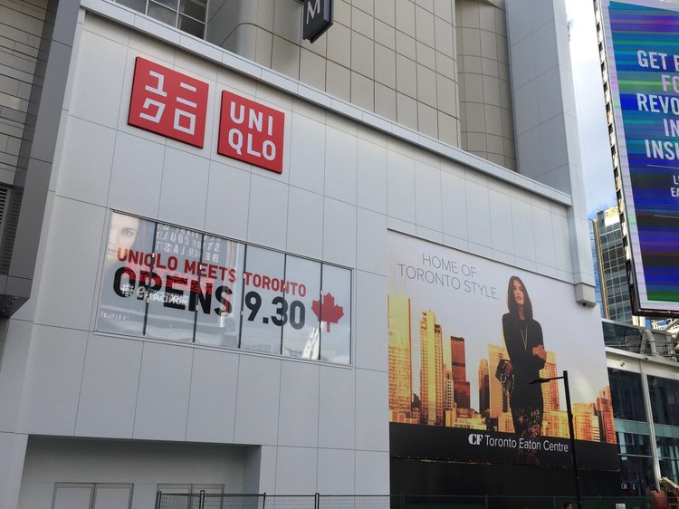 EXTERIOR OF UNIQLO TORONTO in 2016, FACING ONTO YONGE STREET. PHOTO: DEVON JOHNSON