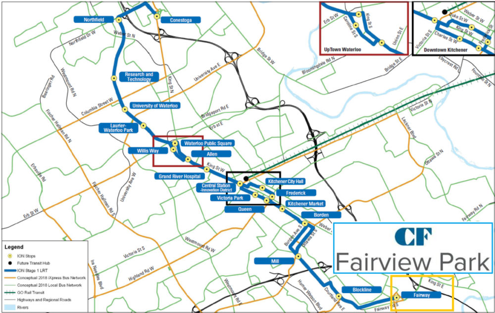 MAP OF KITCHENER-WATERLOO'S NEW LRT SYSTEM VIA CADILLAC FAIRVIEW