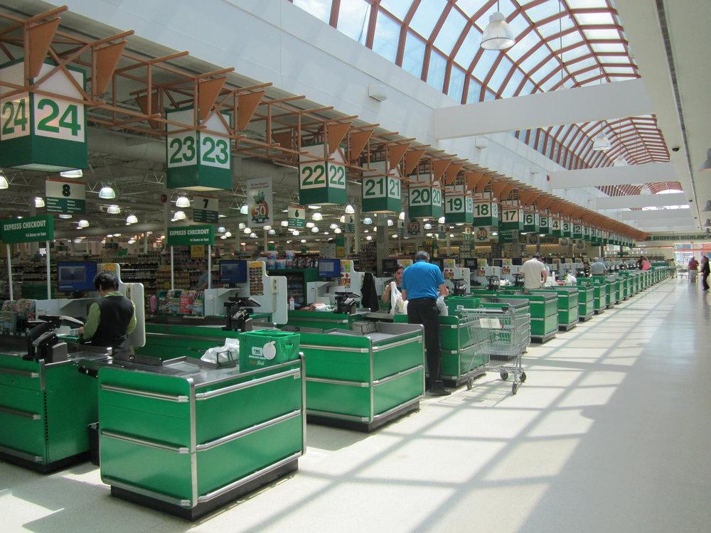 Checkouts at a Highland Farms store in Ontario. Photo: Pan-Oston