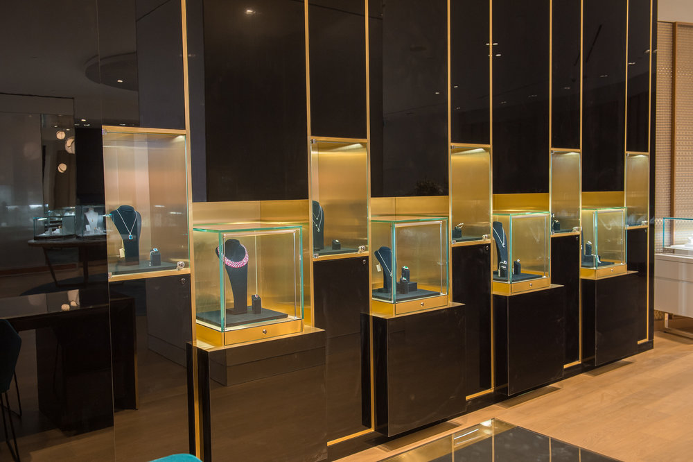 Fine jewellery behind protective glass. Photo: Maison Birks