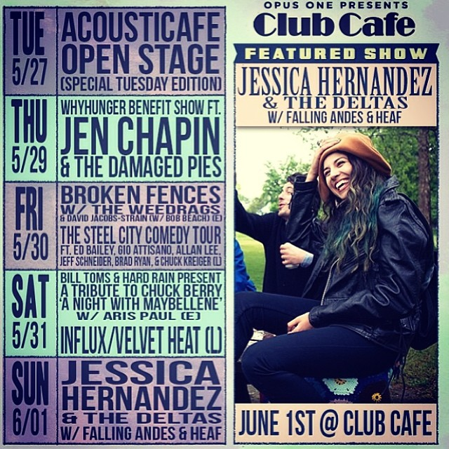 Come see us open for Jessica Hernandez & the Deltas this Sunday, June 1st, at Club Cafe!  8PM. @clubcafelive @opusoneprod #pittsburgh