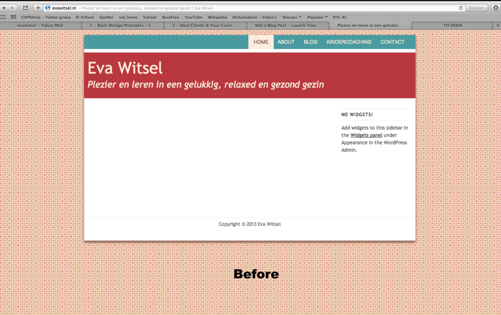 Before (Click Image ) Her failed attempt at Wordpress
