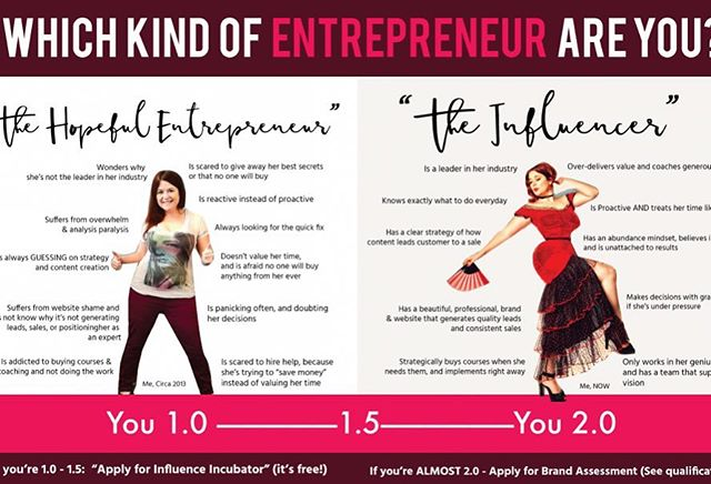 ". Which Entrepreneur Are You?  THE HOPEFUL ENTREPRENEUR"" -  YOU 1.0 👉 Watches peers pass her by, wondering why she's not the leader in her industry. . 👉 Is not making a full-time income from her business yet, so she can't get out of her day job, or has to do something she doesn't want to do to make ends meet. . 👉 Suffers from overwhelm & analysis.paralysis...so it takes forever to get things out. . 👉 Is always GUESSING on strategy and content creation. . 👉 Suffers from website shame and/or does not know why it's not generating leads, sales, or positioning her as an expert (Actually you might even like your site, but it's not working the way you want!). . 👉 Is addicted to buying courses & coaching and not doing the work. . 👉 Sounds sales-y or over promotional in her content, without meaning to... she just NEEDS to make sales to survive! . 👉 Is reactive… instead of proactive… and has a fear of failing and/or a fear of success. . 👉 Often suffers from a scarcity mindset: She won't give her best stuff away for free in fear that no one will buy from her if she does, or that she'll run out of the good stuff! . 👉 She wants to value her time but has shiny object syndrome so badly she's constantly jumping from thing to thing 👉 Is panicking often, and doubting her decisions . 👉 Is scared to hire help, because she's trying to ""save money"" . . 🌺🌺""The Influencer""  YOU 2.0🌺🌺 . 🐟 Is a leader in her industry and is known by other influencers. . 🐬 Makes consistent income from her products & services and is scaling up 🐠 Knows exactly what to do every day when she sits down to work on her business. . 🐋 Has a clear strategy of how content leads a customer to a sale. . 🌺 Has a beautiful, professional, brand & website that generates quality leads and consistent sales. . 🦋 Strategically buys courses when she needs them and implements right away. . 🌴 Over delivers value in her content and giving her audience transformative wins to create influence. . 🌊 Has an abundance mindset, believes in herself and is unattached to results. . 🧜‍♀️ Is proactive and know she will crush any obstacle as long as she doesn't. . ⭐️🌟💫To discover how to become an influencer (click link in bio)💫🌟⭐️"