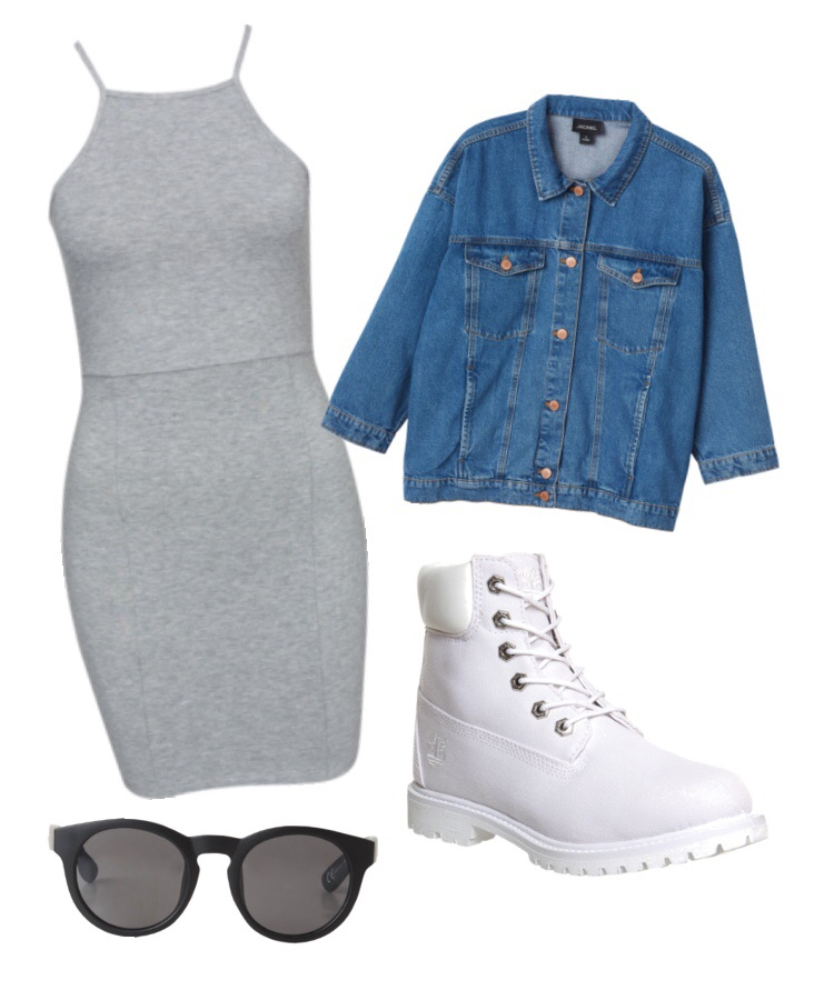 Look 1- Denim jacket, grey midi dress, white Timbalands and black sunglasses.