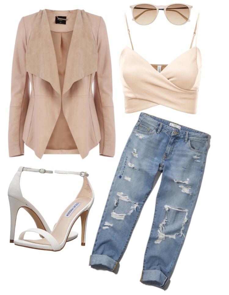 Look 2 - Ripped boyfriend jeans, crop top, white sandals and blush pink suede blazer.
