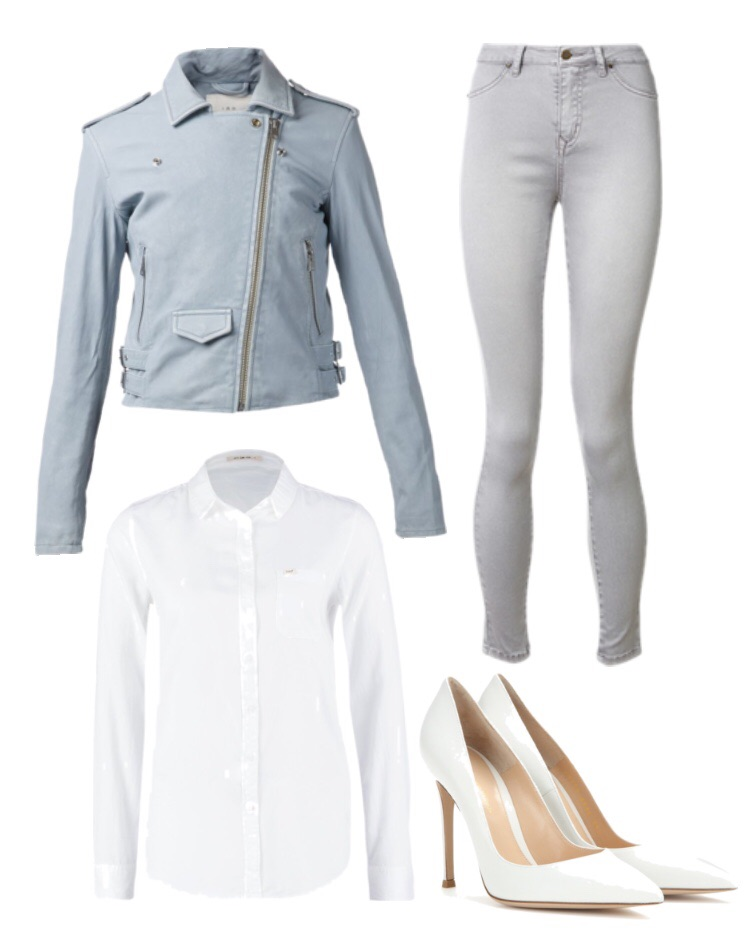 Look 3- Pastel blue leather jacket, white button down, grey jeans and white pointy toe pumps.