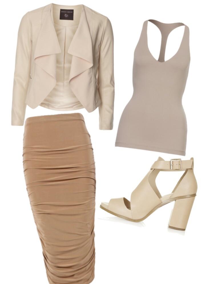 Look 4- Off-white waterfall jacket, dark beige racer back tank, camel midi skirt, cutoff beige sandals.