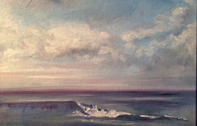 "SOLD! ""The Wave,"" oil on canvas panel, 12"" x 14"" Broad Cove, Cape Elizabeth, Maine"