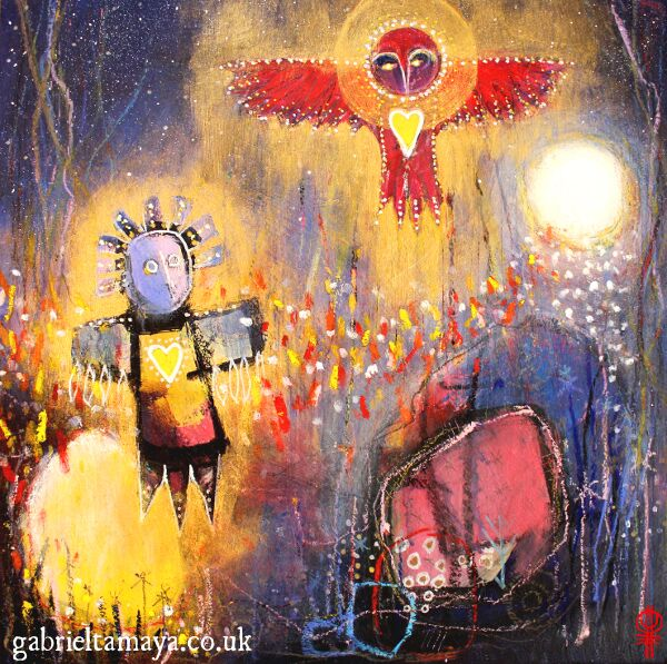 "'Learning to Fly' Finding our wings and rising up! Artist: Gabriel Tamaya Mixed media on board 12"" x 12"" $413                                                      A painting from various shamanic journey and work around the theme of transformation, becoming, and emerging a new.    'After emerging we must first learn to fly.   Owl waits, her presence encouraging us onward as we find our wings.   Moon smiles at our joy,  two shiny jeweled hearts united once more!'"