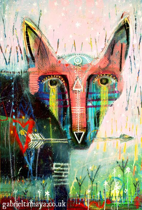 "'She Who Protects The Land'  SOLD Honoring that which we treasure most Artist: Gabriel Tamaya Mixed media on board 14"" x 20.5"" $577                                                      This painting is taken from journeys and work with the artist's local land Spirits (those who work as stewards to the land). It was a gentle reminder about how when we work with the land and honor her, she responds in kind, sometimes surprising and powerful ways. When working with a particular place on a regular basis, there is a definite awakening of energy there where often it has become dormant. Just a small amount of effort and intent can go a long way. No effort however small goes unnoticed and all work is greatly appreciated."