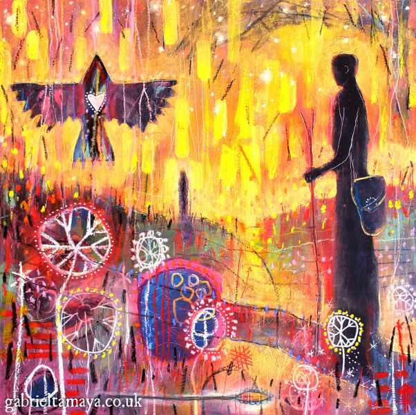 "'Waiting for Woden' Connecting deeply with our ancestral heritage Artist: Gabriel Tamaya Mixed media on board 20.5"" x 20.5"" $645                                                      This painting is taken from journey work exploring an ever deepening connection the artist is actively growing with the spiritual practices of his ancestors. A lot of the guidance and teaching on these journeys has spoken about the inherent power in connecting specifically with our ancestral spiritual practices, rather than those of other cultures (which can be powerful too, but in a different way). Finally connecting with his ancestral lineage has been one of the most gently powerful, moving, and profound experiences. It is not something easily put into words, but this painting captures this feeling in some small way. The painting's message in part is one of having confidence and faith in your own ancestral spirituality, to call on this, and make a place for it in your life even if you walk primarily a path that is of other cultures."