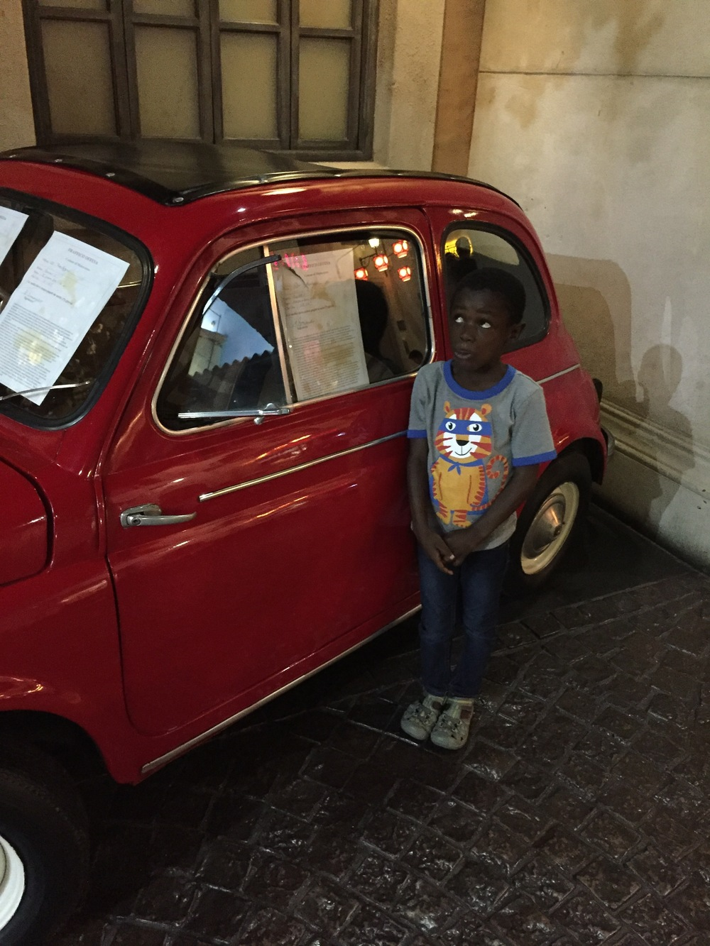Tisetso wanted his picture taking with this Mini Cooper.