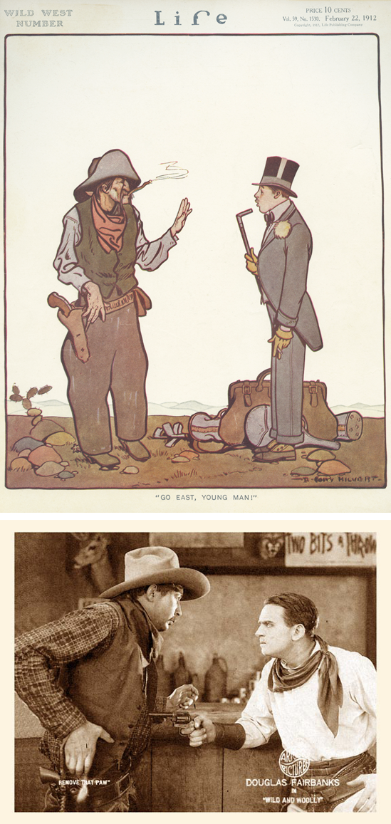 """Go East, Young Man!"" Life Magazine, February 1912 (top)   ""Remove that paw."" Wild and Woolly, Lobby Card 1917 (bottom)"