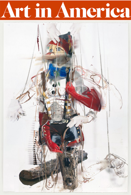 Entangled, 2011. Mixed Media on Paper, 60 x44 in. Image via Gallery 16.  Published in Art in America: March 25, 2011.