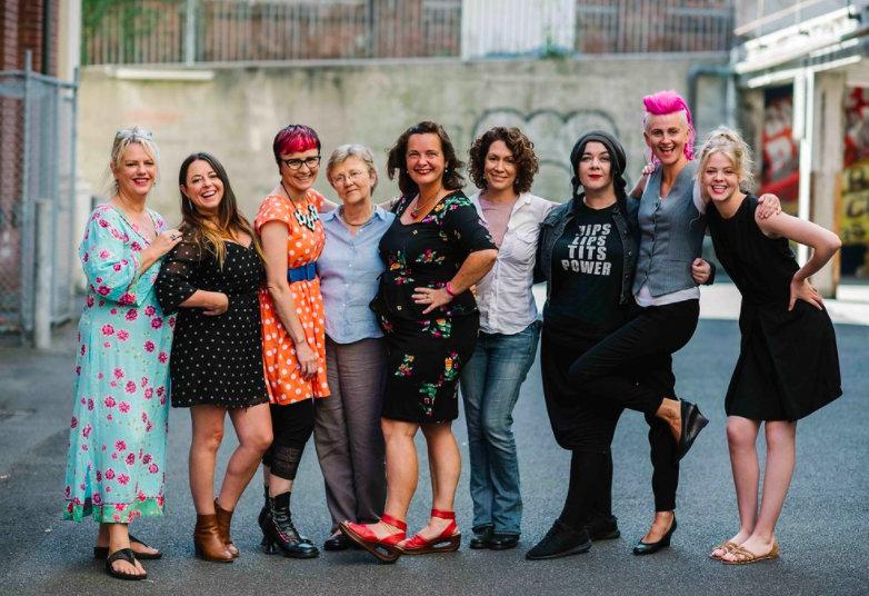 Pushy Women 2017 line up: L-R: Rebecca Barnard, Myf Warhurst, Cal Wilson, Helen Garner, Catherine Deveny, Kitty Flanagan, Amy Gray, Lucy Perry, Tegan Higginbotham.