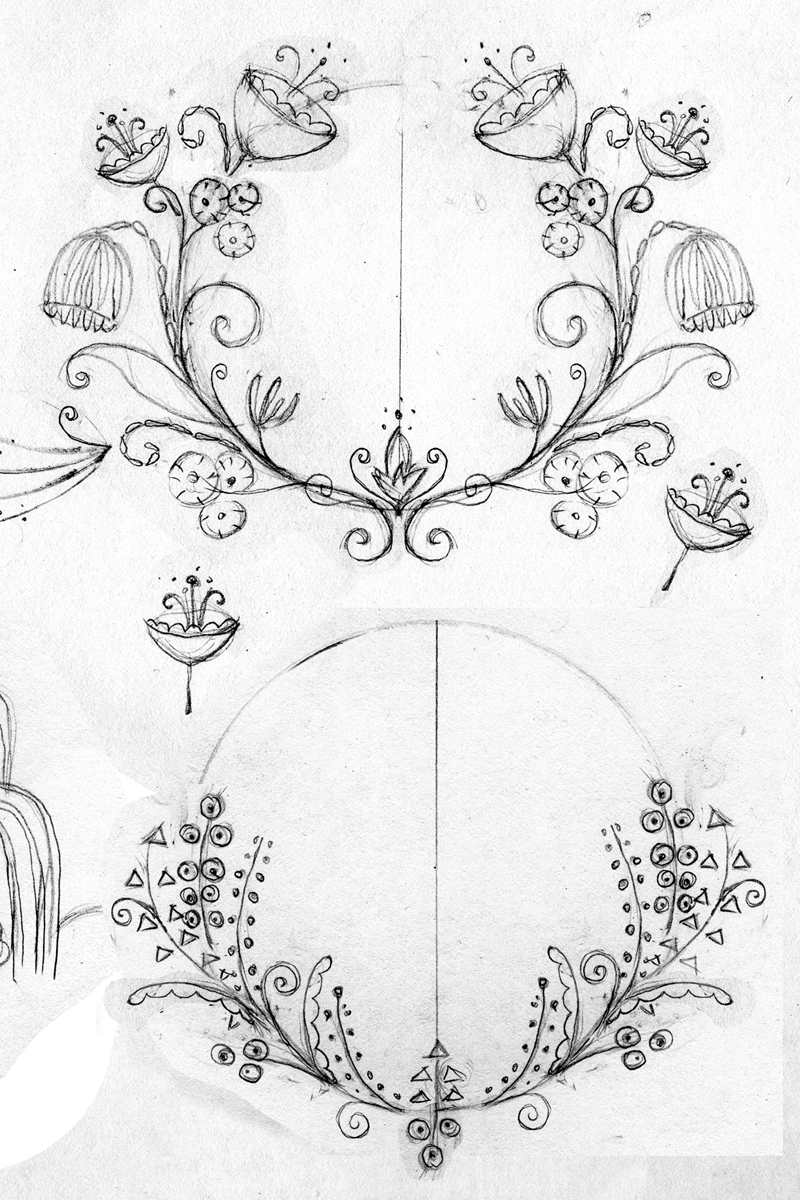 Some wreath sketches I made inspired by Art Deco and Art Nouveau.