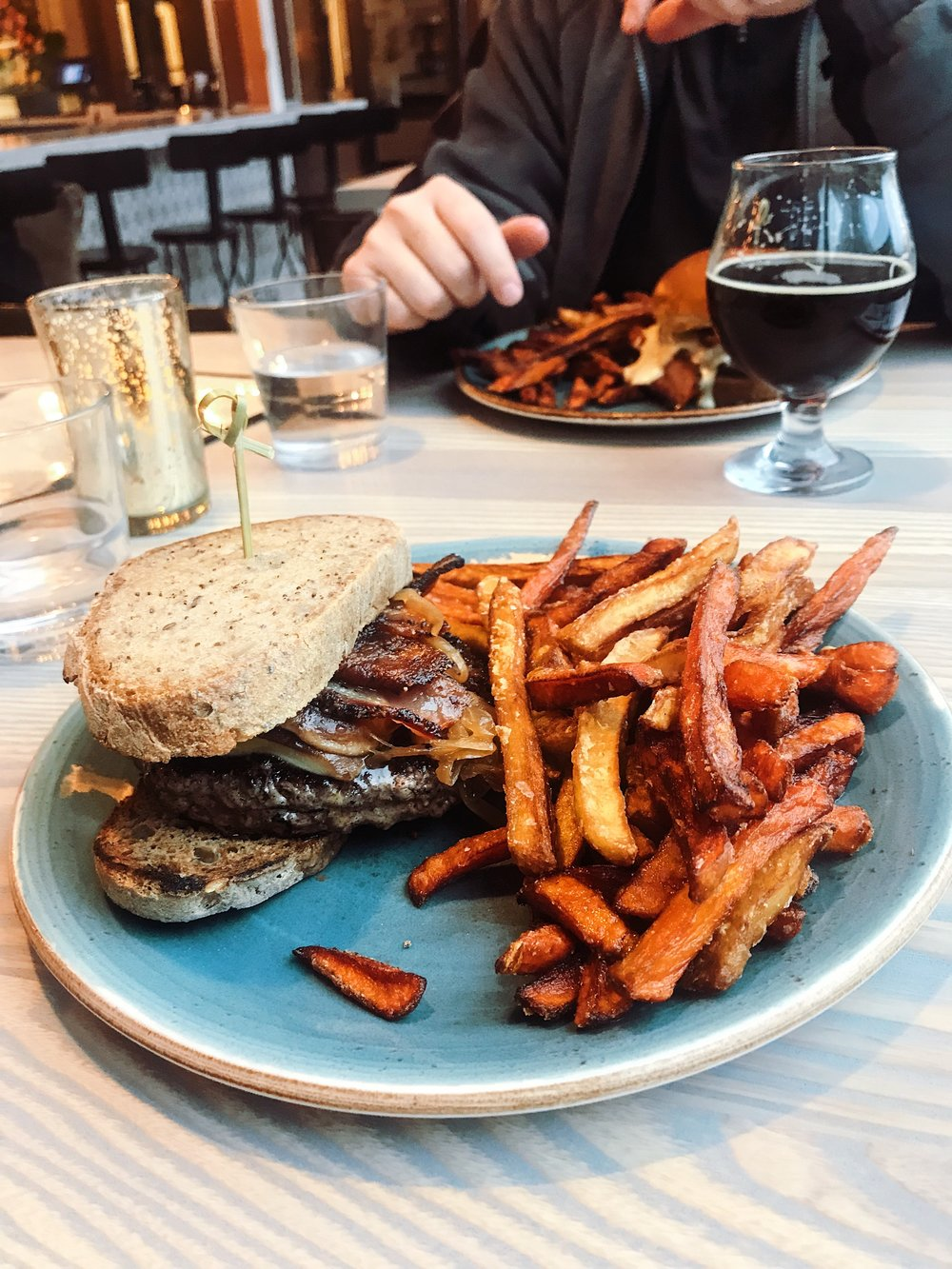 If you have not been to The Garden Table off Mass Ave in Indy, you should try it! Pictured is a gluten-free burger with flash-fried carrots and parsnips!