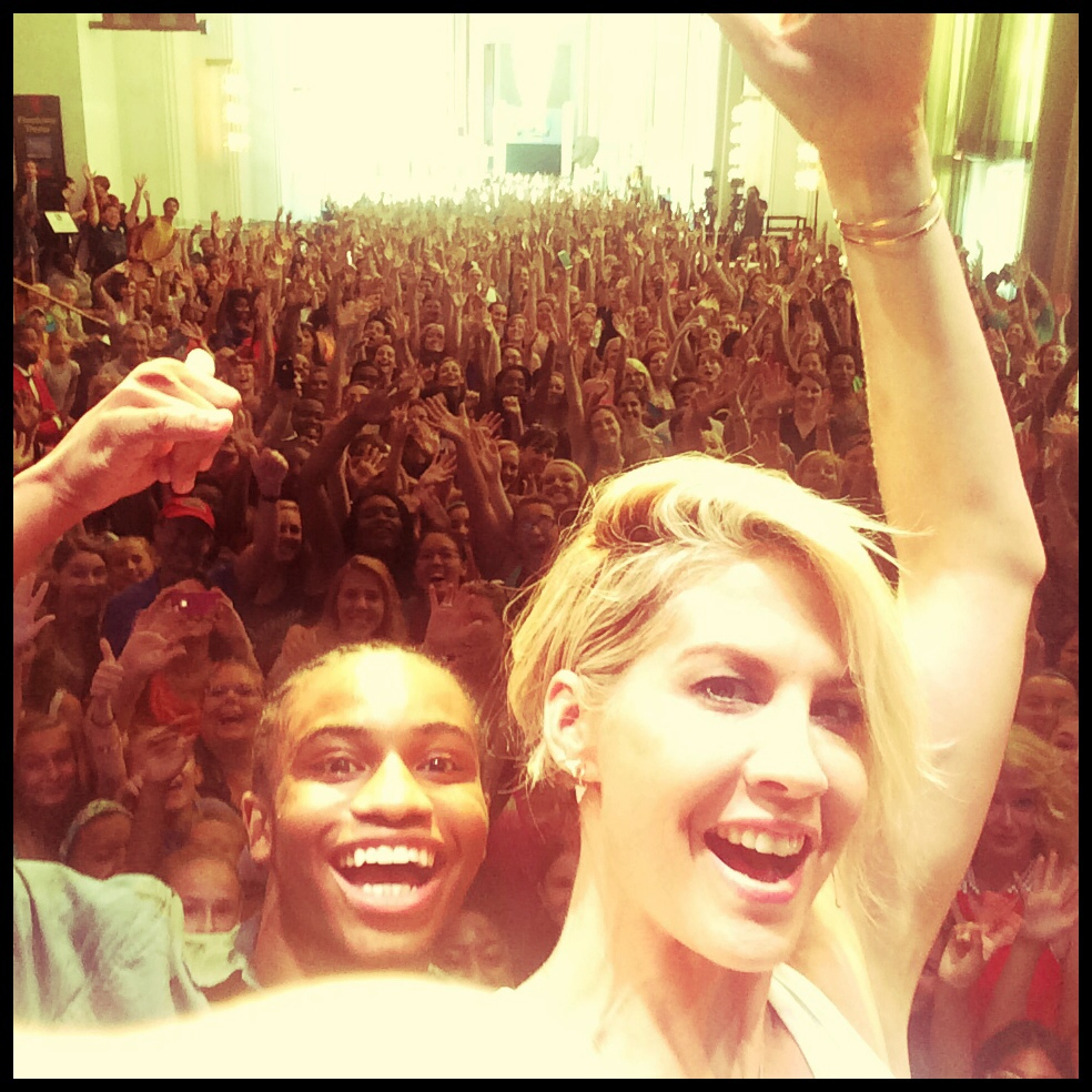 Jenna, SYTYCD 2013 winner Fik-Shun, and their dance students at The Kennedy Center on National Dance Day, July 26, 2014.