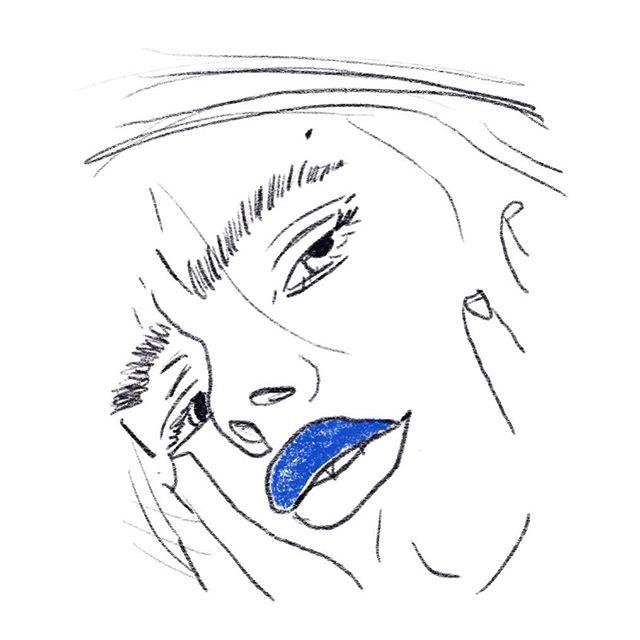 Today was so freezing my lips went blue #yveskleinblue 💙