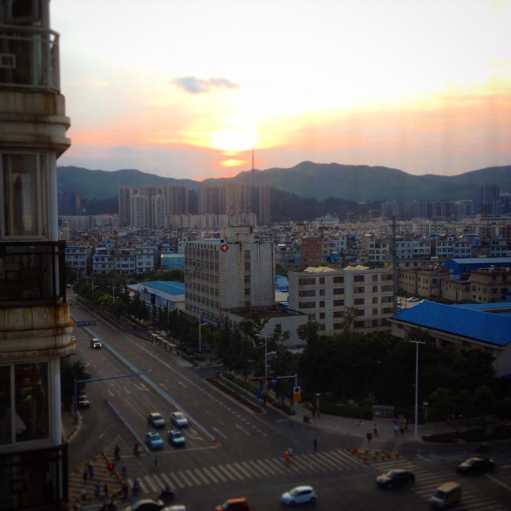 Obligatorisk solnedgång från balkongen.