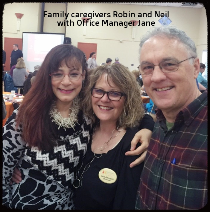 Family caregivers Robin and Neil with Office Manager Jane