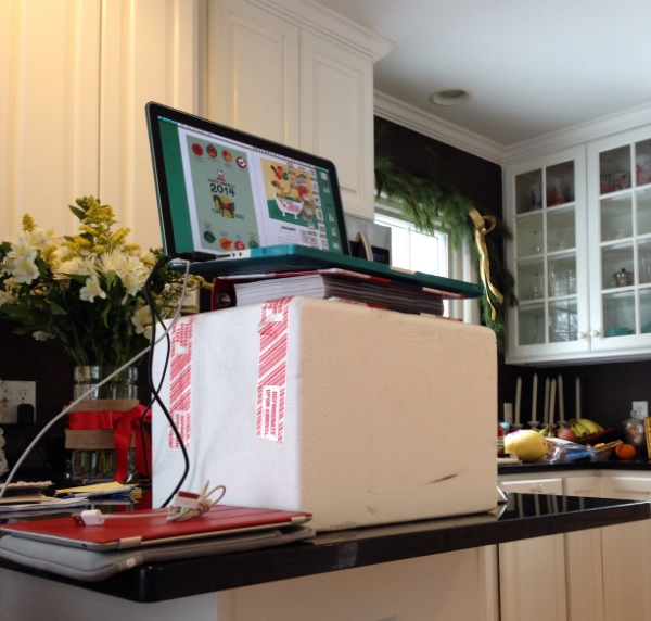 My make-shift standing desk in the kitchen.