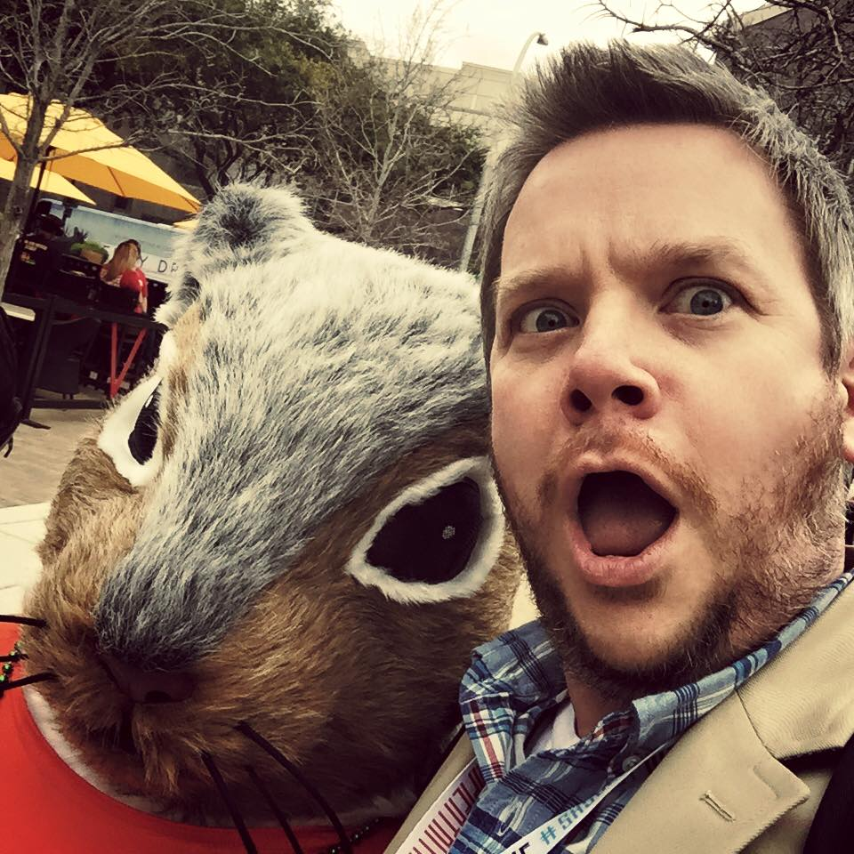 John Costik and a very large squirrel at SXSW