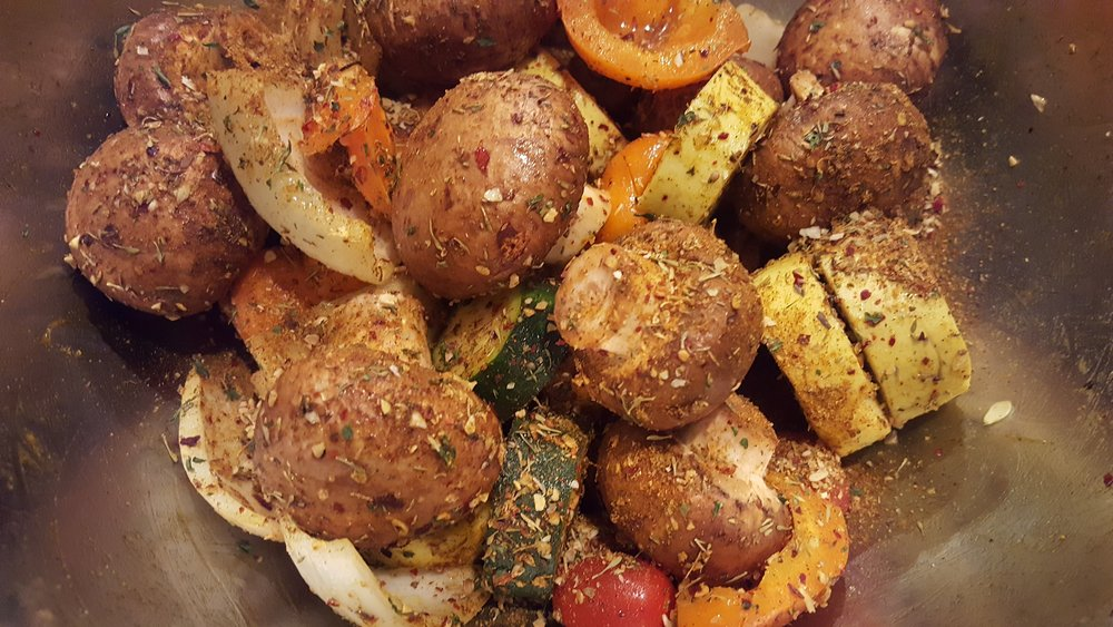 seasoned kebab veggies