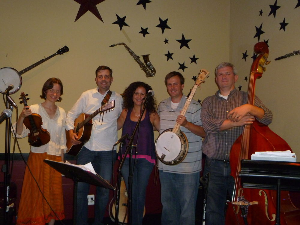 With the band Sligo Creek, at a musical reading mash-up at the Music Cafe in Damascus, Maryland.