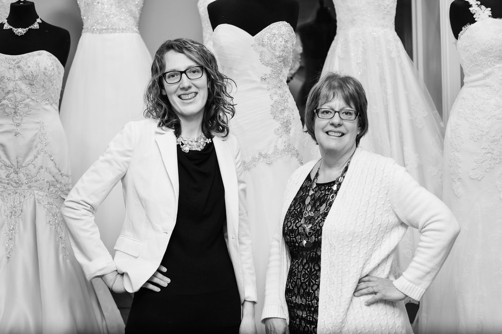 Erin Bouchard Owner & Sharon Watson Bridal Consultant at Once Upon A Time Weddings in Strathroy.  Photo by Soul Photography.