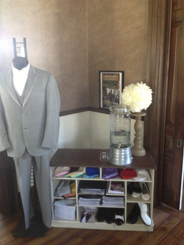 Once Upon A Time Weddings can help outfit your groom too!  Also in the accessory suite, you'll find our tuxedo display and information.