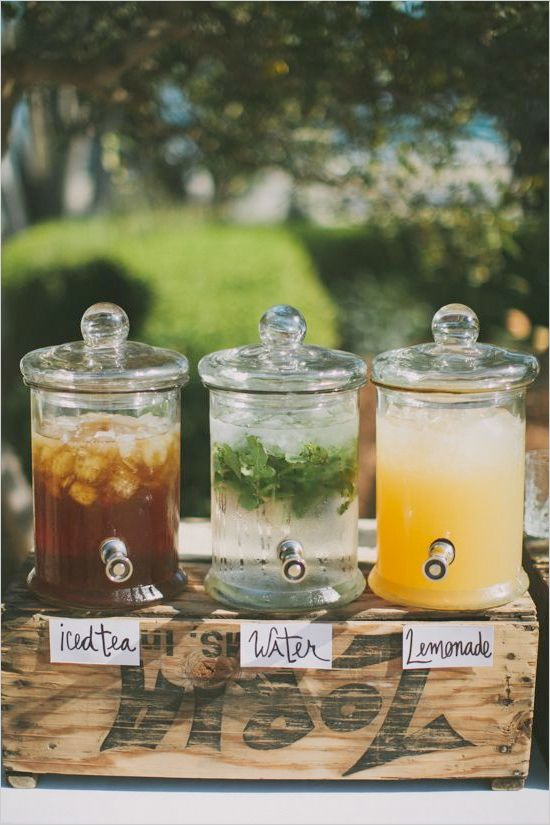 Don't forget to have lots of liquids available in case of a hot, humid day.  You could even have them in your wedding colors.