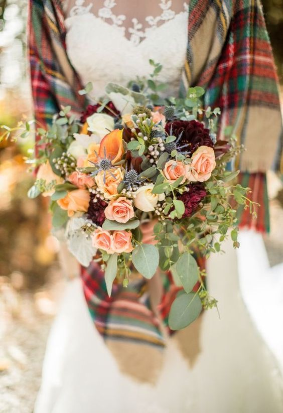 Via Pinterest, plaid blanket scarf playing off her bouquet colours.