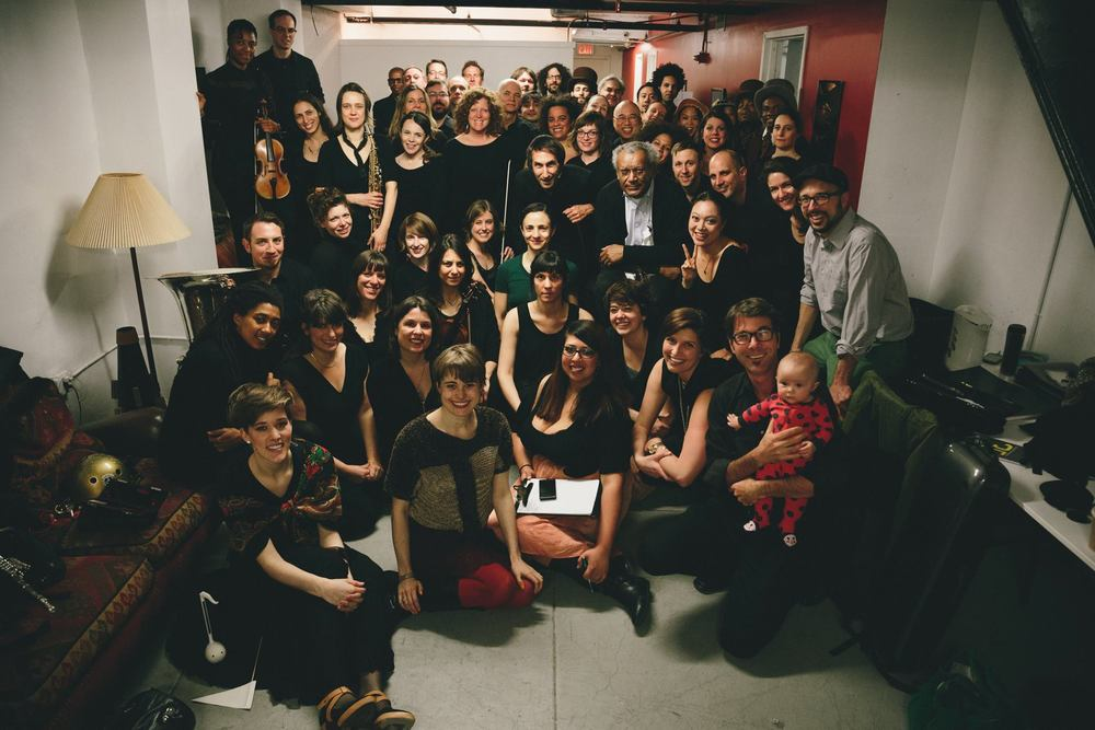 cast and crew of Anthony Braxton's Trillium J ; photo: Dylan McLaughlin, April, 2014