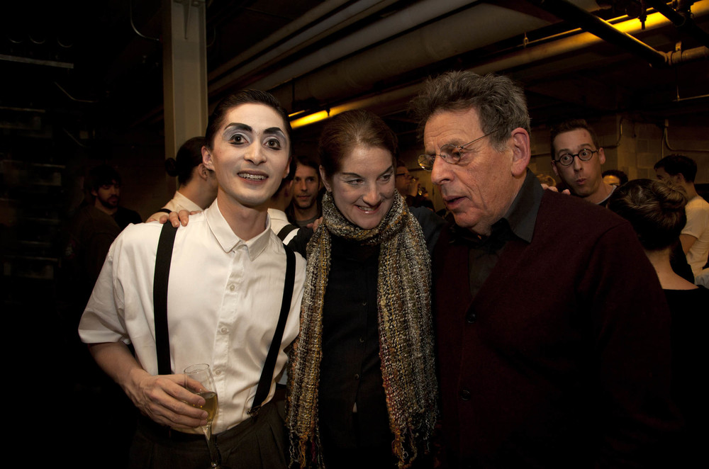 with Lisa Bielawa and Philip Glass; photo by Lucy Jansch; January, 2012