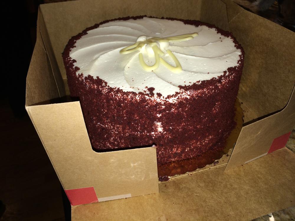 A red velvet cake for dessert
