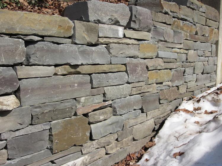 flagstone wall stonework greenscene lawn and garden