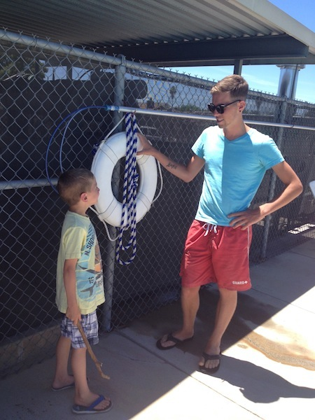 Our son Nate teaching his younger brother some lifeguarding skills