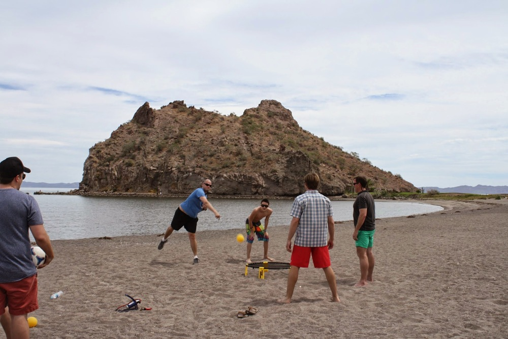 Playing Spike Ball on the Loreto Bay beach.