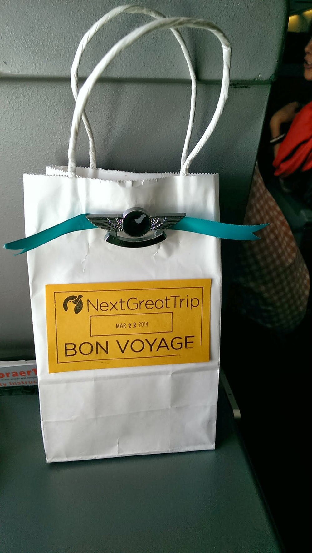 Fun NextGreatTrip gift bags for the kids on the flight!