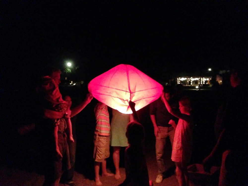 Releasing lanterns on the last night in Loreto.