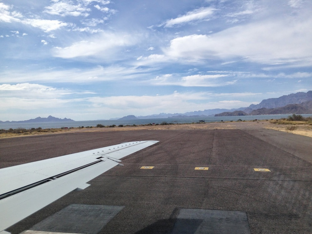 Landing in Loreto after a direct flight from Denver.