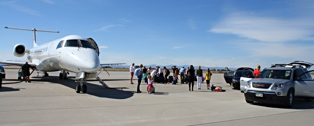 NextGreatTrip (with one of its 50-passenger flights shown here at Centennial Airport in Denver) is part of a growing industry offering solutions to the woes of commercial air travel.