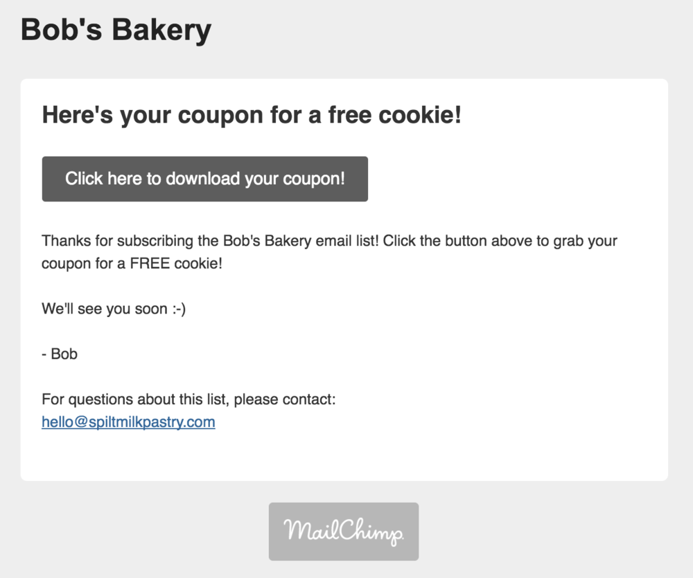 Here's an example email of the Mailchimp double opt-in email ... upgraded!